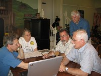 The May 26 recording session (L to R: Griff Wigley, Peggy Prowe, Ross Currier, Tom Neuville, Ray Cox)