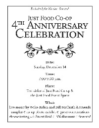 Just Food Co-op 4th anniversary flyer