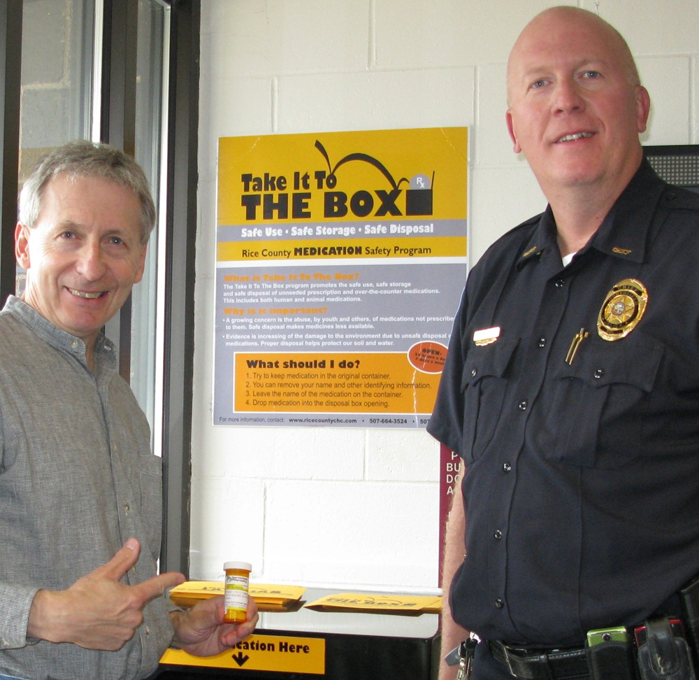 take it to the box rice county s medication safety program griff wigley takes a bottle of oxycodone to the box nothfield police chief mark taylor