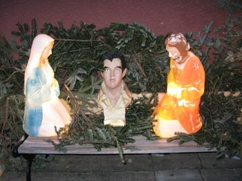 Elvis in the manger at Tiny's
