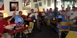 Some of the Cycle America participants refueling at the Goodby Blue Monday