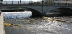July 8, 2010: floating yellow barrier in the Cannon River