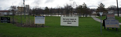 Advertising banners in Ames Park