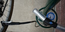 air pump and guage with a Dero Fixit bike repair stand