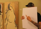 Nick Sinclair with 'Untitled' mixed media on wood