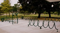 Bike racks and bike repair station at St. Olaf dorm