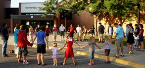 Aug. 26, 2011 prayer walk at the Northfield High School