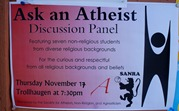 Ask an Athiest poster - SANRA - St. Olaf Agnostics, Non-Religious, and Atheists