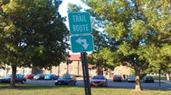 Trail Route sign; Jefferson Park trail at Jefferson Parkway