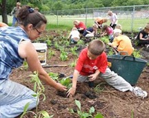 These are photos of students from Park Elementary School in Cross Plains, WI planting a Rain Garden adjacent to their school. This activity was an outgrowth of the Restore Institute which was held at the UW Arboretum last year. The photos were taken on June 5, 2007.
