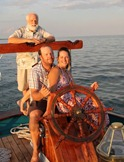 Owner William Rowan, son Josh and daughter-in-law Bonnie, on May 2012 shake-down cruise. Photo by Doug Rautenkranz