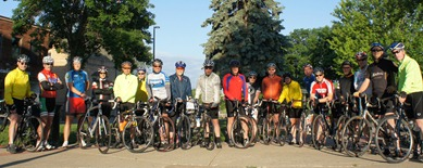 Cannon Valley Velo Club, A and B ride groups, Bridge Square