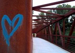 grafitti on the Peggy Prowe Pedestrian Bridge