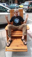 Griff Wigley in a swag tall chair