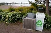 recycling/trash bins in downtown Grand Marais