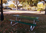 picnic table on Bridge Square, Northfield