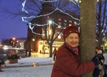 Helen Albers & the Red Maple she planted on Bridge Square