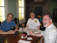 The May 26 recording session (L to R: Griff Wigley, Peggy Prowe, Ross Currier)