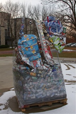 "Photo by Jos Rowan ""Elephant in the Room"" appeared in Buntrock Commons at Saint Olaf College to draw attention to alcohol consumption on the campus, which has a ""dry"" policy."