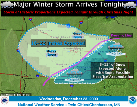 1:30 pm snowfall prediction from the Twin Cities NWS