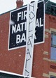 Banner hanging from the First National Bank of Northfield