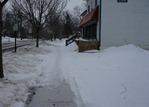 Ole Café snow-covered sidewalk