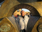 Ray Jacobson with Harvest sculpture