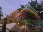 big soap bubbles in downtown Northfield