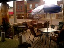 outdoor patio at Pizzeria 201 in Montgomery, MN