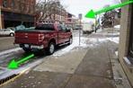 Red pickup truck in Northfield, MN license plate 422 BXL