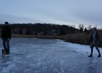Ice on the pond in Hidden Valley Park