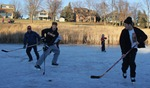 pond hockey in Hidden Valley Park
