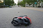 A crushed bike helmet in Northfield