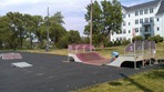 Installation of skate park equipment in Riverside Park