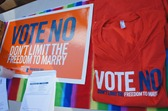 Lawn sign, t-shirt: Vote No, Don't Limit the Freedom to Marry