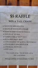 swag tall chair raffle