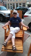 Barbara Dettle in a swag tall chair