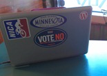 Griff Wigley's laptop with bumper sticker: Vote No, Don't Limit the Freedom to Marry
