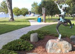 jester sculpture in Red Wing's Levee Park
