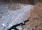 regular mountain bike on a trail with little snow: excellent