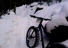 fat bike on a trail with deep snow, not packed: difficult
