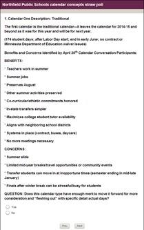 Northfield Public Schools calendar concepts straw poll